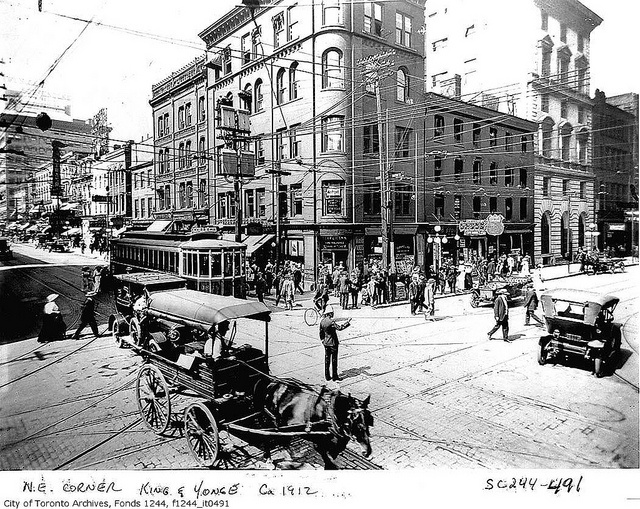 North east corner of King Street and Yonge Street    Photographer: William James  ca. 1912