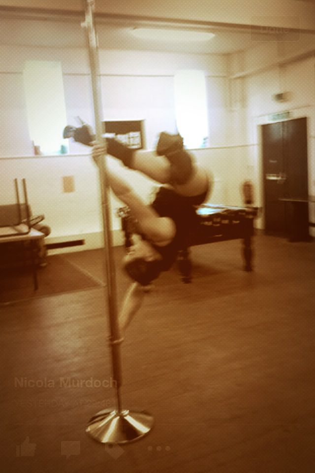 Pole dancing  Pole trick  Pole fitness   Hand spring in heels