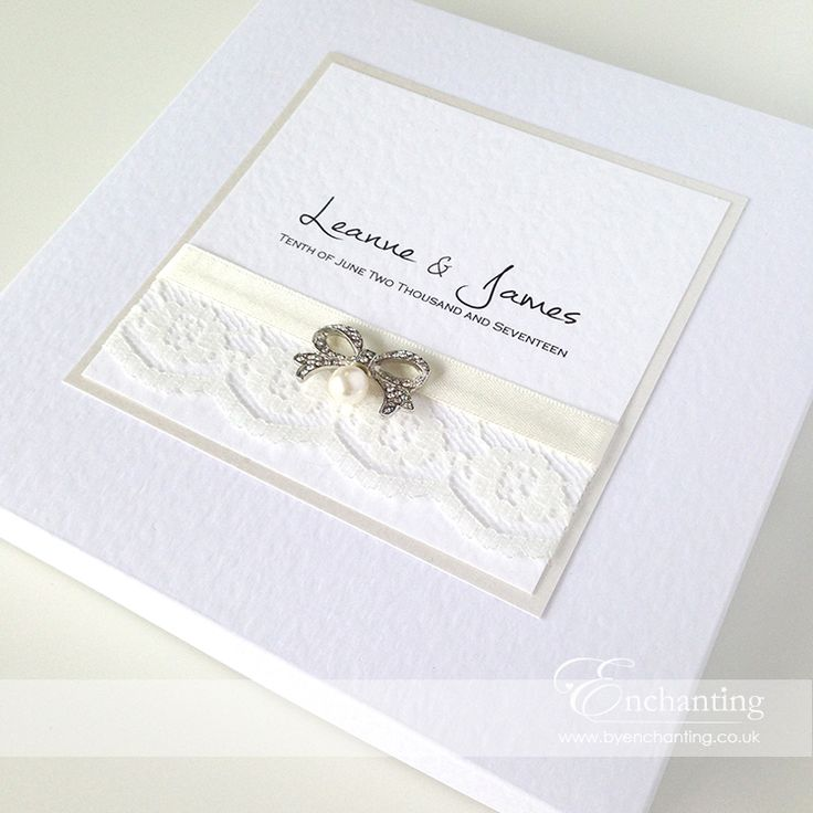 Lace Wedding Invitations | The Snow White Collection - Luxury Invitation Box | Featuring ivory ribbon, ivory lace and diamanté and pearl bow embellishment | Luxury handmade wedding invitations and stationery #byenchanting
