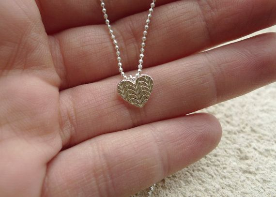 Small Knitted Heart Necklace in Sterling by Slashpile Designs
