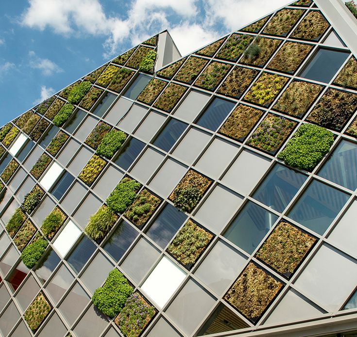 Frederic Haesevoets Architecture have designed the City Hall of Herstal in Belgium, which is covered in a patchwork of mini greenwalls.