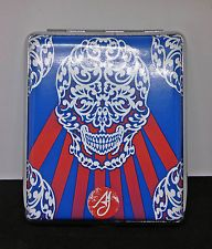 Ami James Ink Skull Framed Double Sided PU Leather 100s Cigarette Case