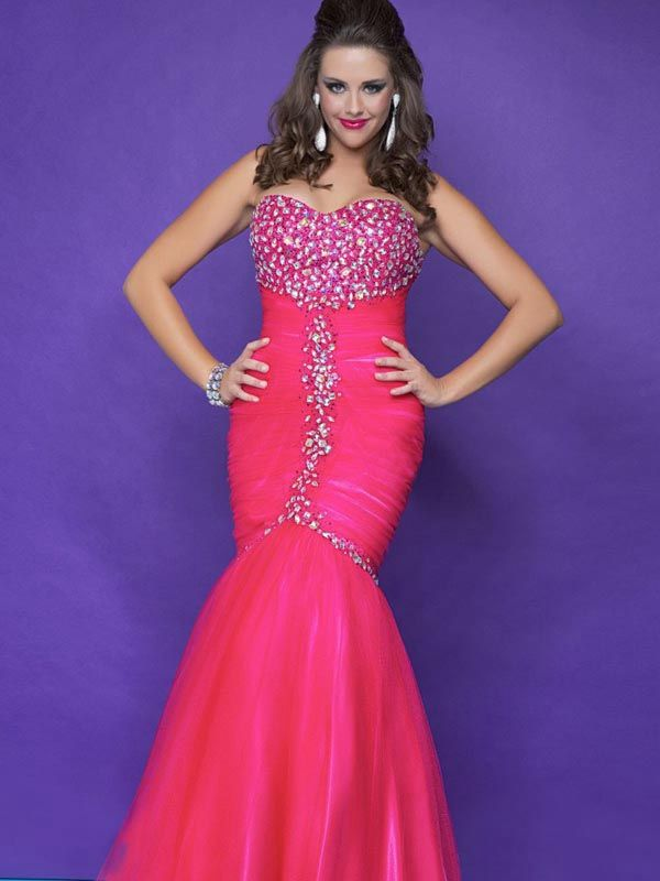 Sweetheart Neckline Trumpet Full Length Hot Pink Mermaid Plus Size Evening Dresses, Beautiful! Saw one just like it at http://www.womensuitsupto34.com/