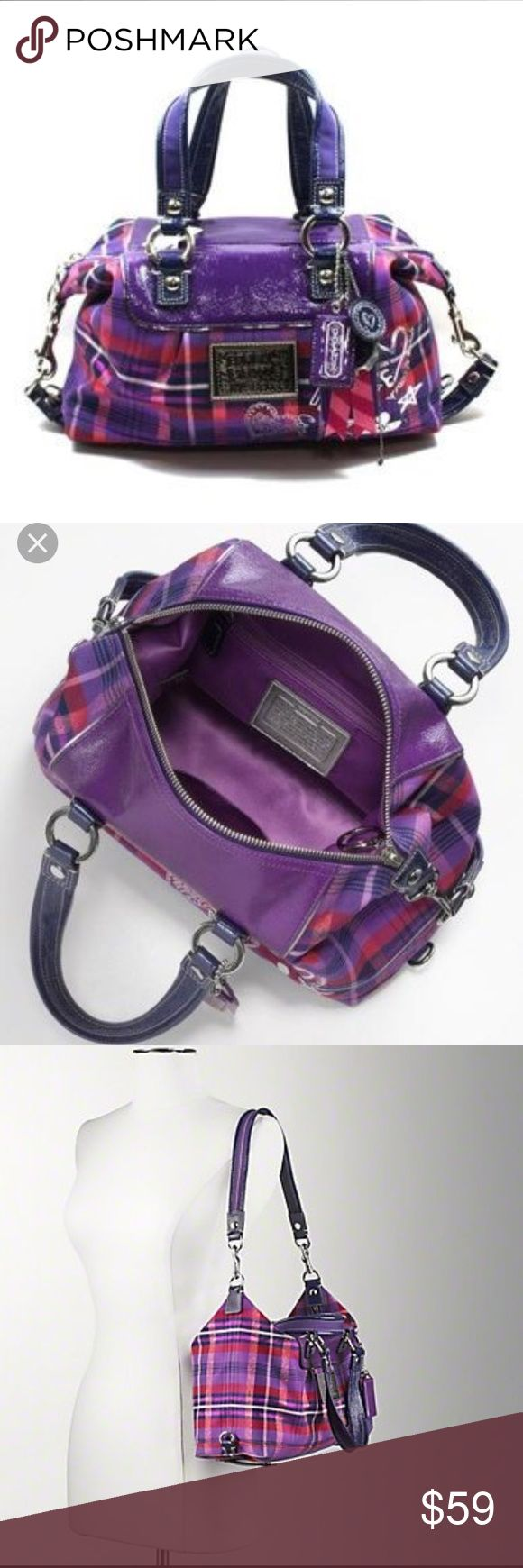 Coach Poppy Luxey Tartan 2 Way Satchel Bag Coach Poppy Luxey Purple Tartan Plaid 2 Way Satchel. Features a cloth like jacquard in purple tartan plaid with shiny patent leather trim, double handles and longer shoulder strap that will tuck on the bottom, Coach Poppy emblem, silver hardware, top zip closure,  3 Coach Hangtags. Interior features Coach Sateen Fabric in purple, one Zip Pocket and slip pocket. Coach creed patch, Authenticity number 15884, rare and sold out.  Great condition in and…
