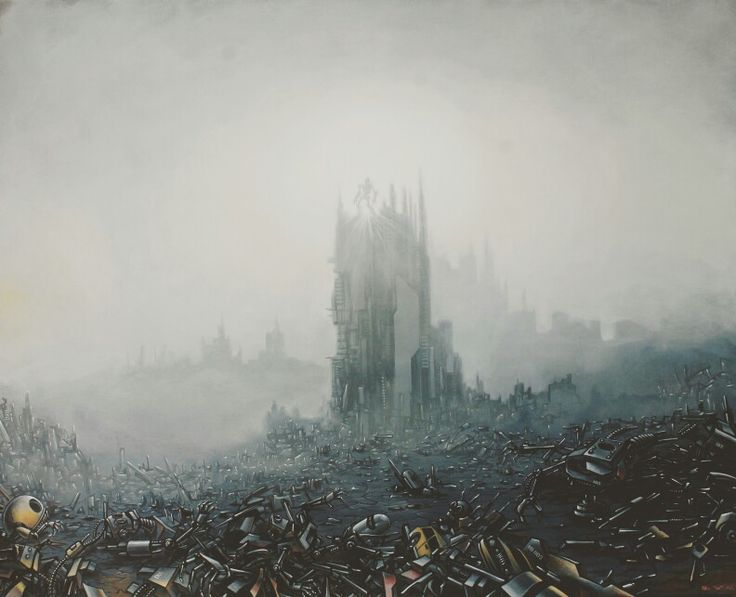 TriWahono #ruin #war #machine #illustration #robots