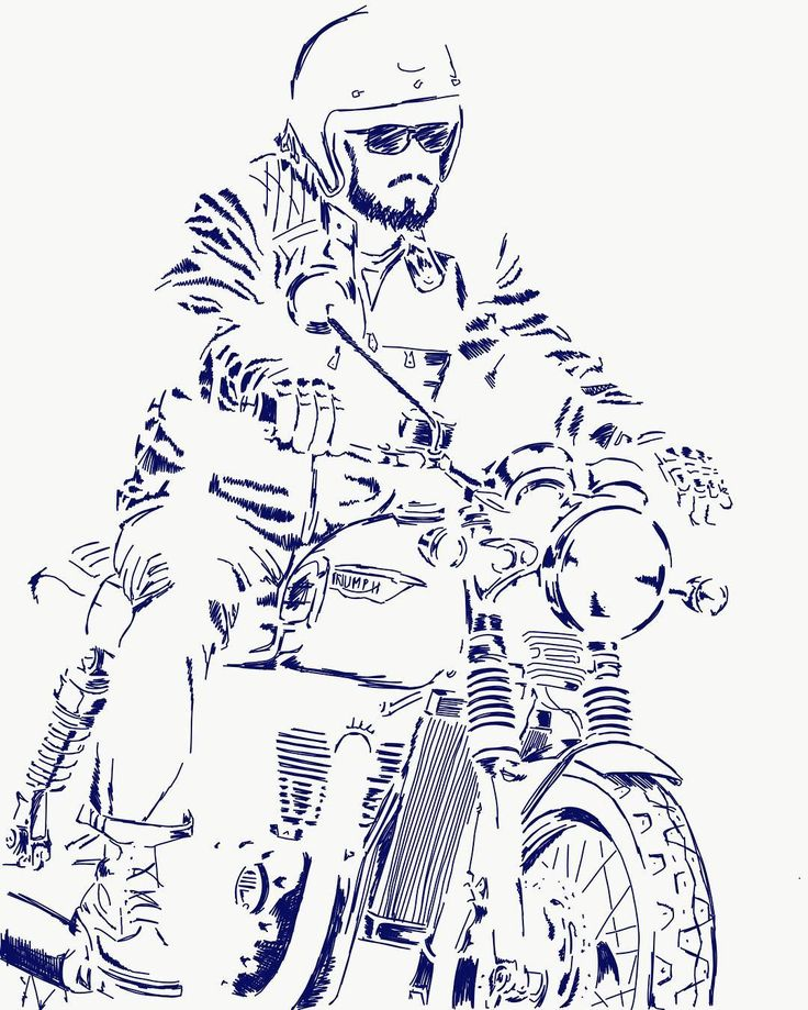 motorcycle motors sketch drawing wacomopri lineart linedrawing drawings motorbike helmet harleydavidson honda bobber triumph artwork chopper