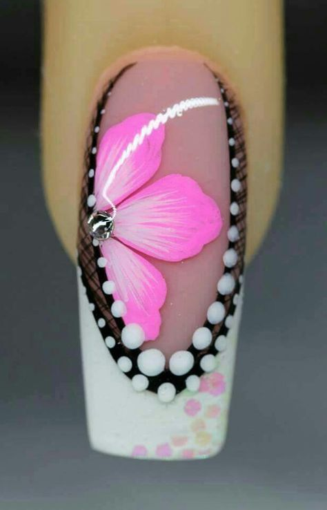 Summer design pink black and white flowers polka dots