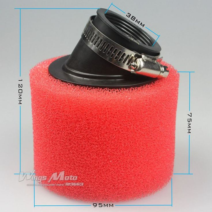 38mm 50cc Moped Scooter Red Foam Air Filter Cleaner 125cc 150cc Pit Dirt Bike Motorcycle Bent Inlet