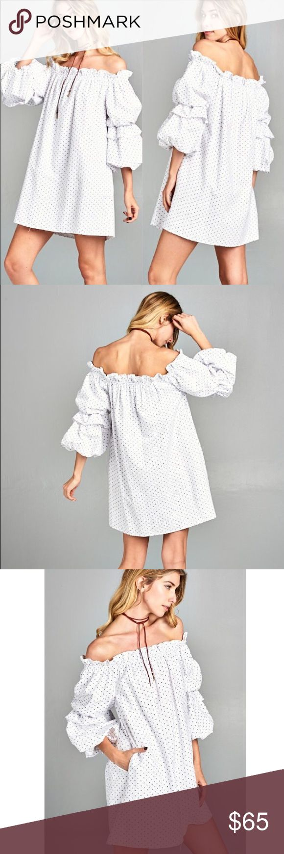 """COMING SOON Measurements and material coming soon White Trendy off the shoulder dress with ruffle """"puff"""" sleeves. So adorable! Can dress casually or simply add heels for a day to night dress. Also available in blue. gin boutique Dresses Mini"""