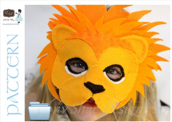 Leo the Lion Mask PATTERN.  One size fits most children and some adults.  INSTANT DOWNLOAD.. $4.00, via Etsy.