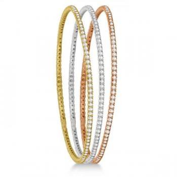 Stackable Diamond Bangle Eternity Bracelet 14k White Gold (1.25ct)