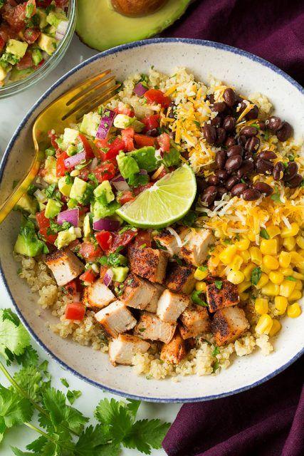 Grilled+Chicken+and+Quinoa+Burrito+Bowls+with+Avocado+Salsa