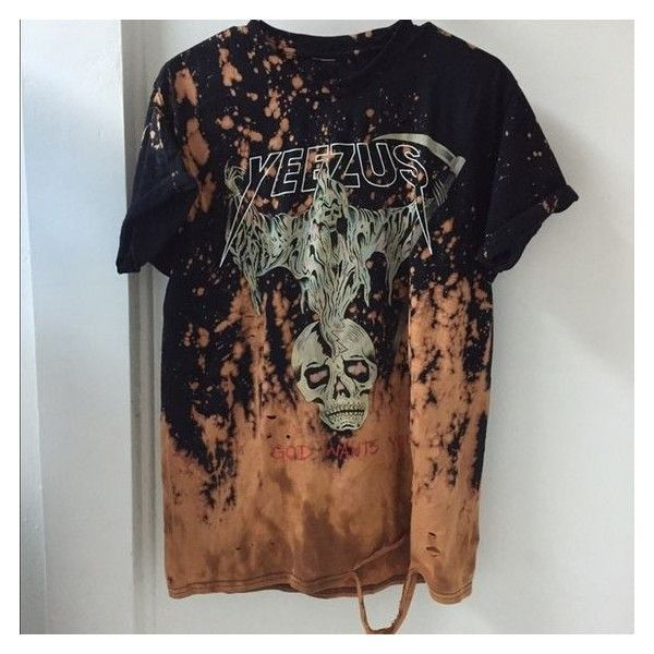 Yeezy distressed tee ❤ liked on Polyvore featuring tops, t-shirts, ripped t shirt, brown top, destruction t shirt, brown t shirt and ripped tee