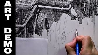 (48) Steam Train Ink Stippling Timelapse Demo Part 2 - YouTube