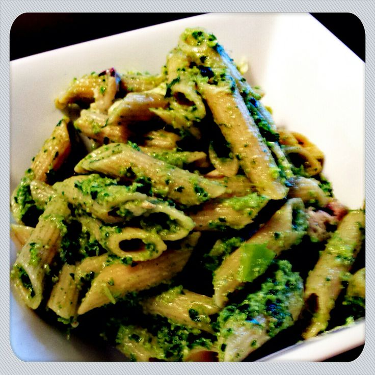 quinoa penne with spinach and kale pesto