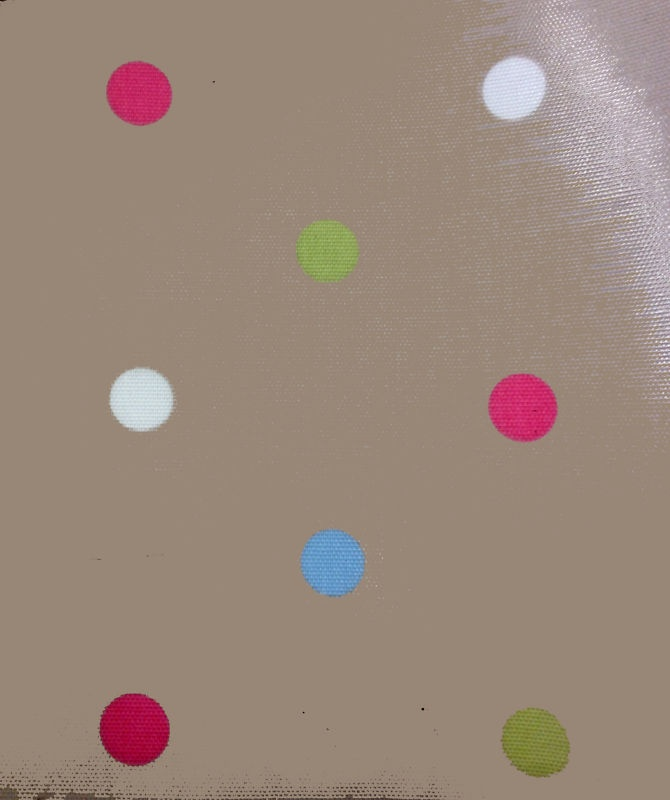 Clarke and Clarke Wipe Clean Tablecloth/Oil Cloth-Taupe with Multicoloured Spot! £12.49 per metre  #fabric #material #floral #flowers #tablecloth #cute