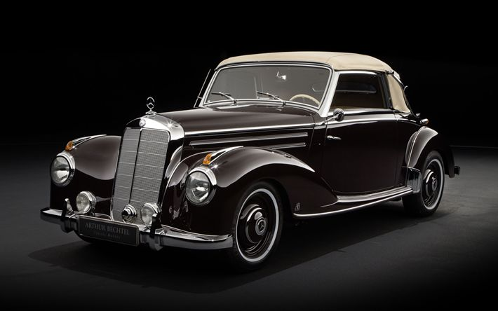 Download wallpapers Mercedes-Benz 220 Cabriolet A, retro cars, 1953 cars, 220 Cabriolet A, Mercedes