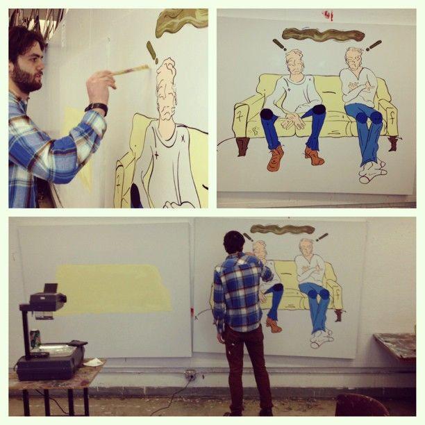 Being my boyfriends artist assistant for the day #dayoff #friday #saic #artschool #stevedonofrio