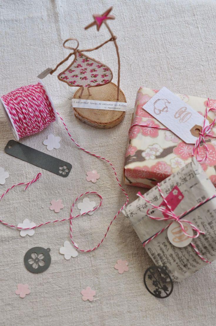 newspaper, pink twine...too cute