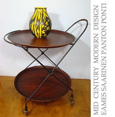 mid century MODERN scandinavian bar cart serving teak  iron design EAMES era