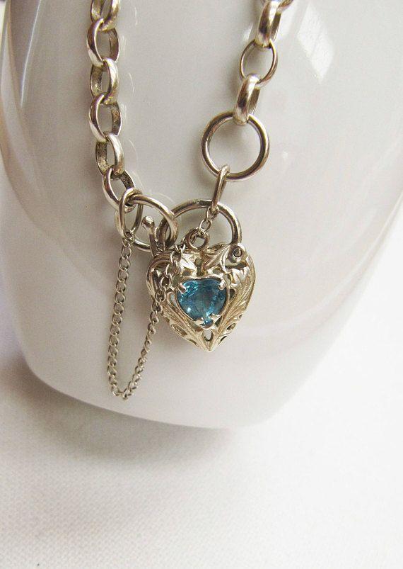 Vintage Sterling Silver Blue Topaz Heart Padlock Bracelet