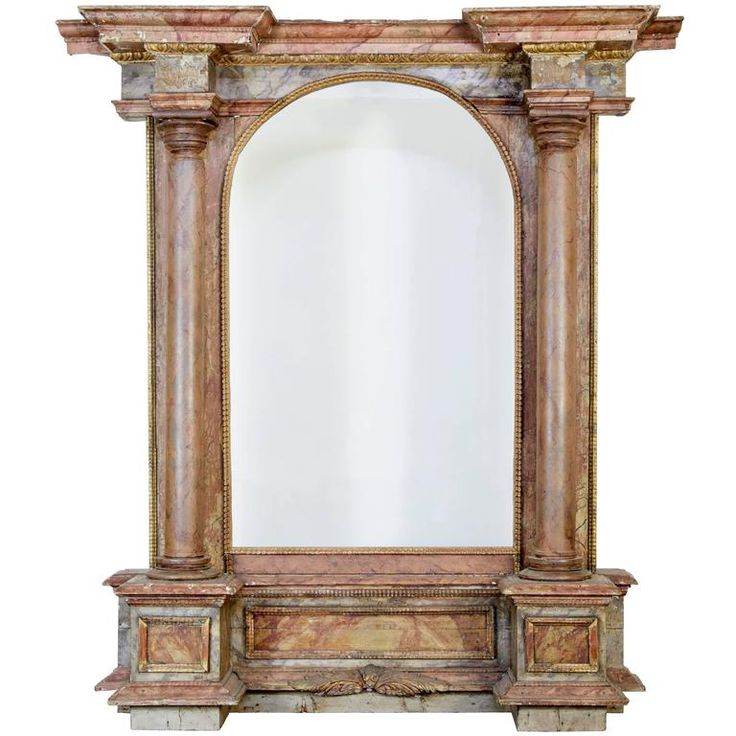 18th Century and Later Painted Italian Architectural Mirror | From a unique collection of antique and modern floor mirrors and full-length mirrors at https://www.1stdibs.com/furniture/mirrors/floor-mirrors-full-length-mirrors/