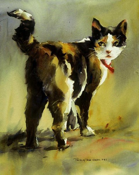 This charming watercolor reminds me of my own little Cali.  I have always found fur intimidating to paint but I like how the artist just used color rather than a lot of fine brush strokes to simulate fur.  Our minds tell us that this is a cat and cats have fur.  We don't need to paint every little hair.