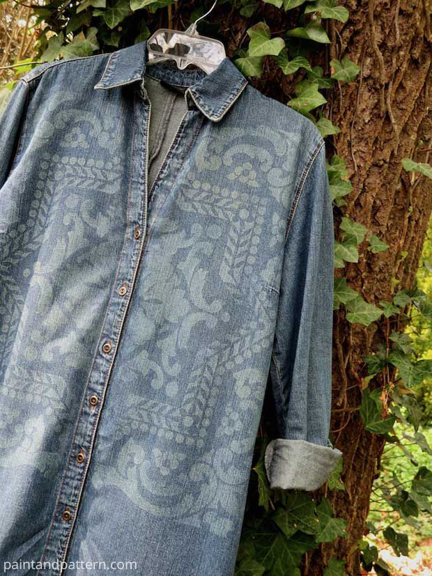 Stenciling an old denim jacket with Discharge Paste DIY | Paint + Pattern