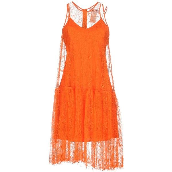 Msgm Knee-length Dress (900 AUD) ❤ liked on Polyvore featuring dresses, orange, lace dress, swing dresses, sleeveless lace dress, knee high dresses and tent dresses