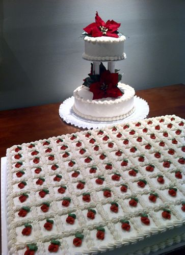 """Sheet cakes can be a cheaper option - typically used for the """"Groom's Cake"""" and dessert in my family!"""