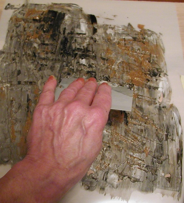 How to create this Multi-Color Raised Plaster Faux Stone Finish with Joint Compound.