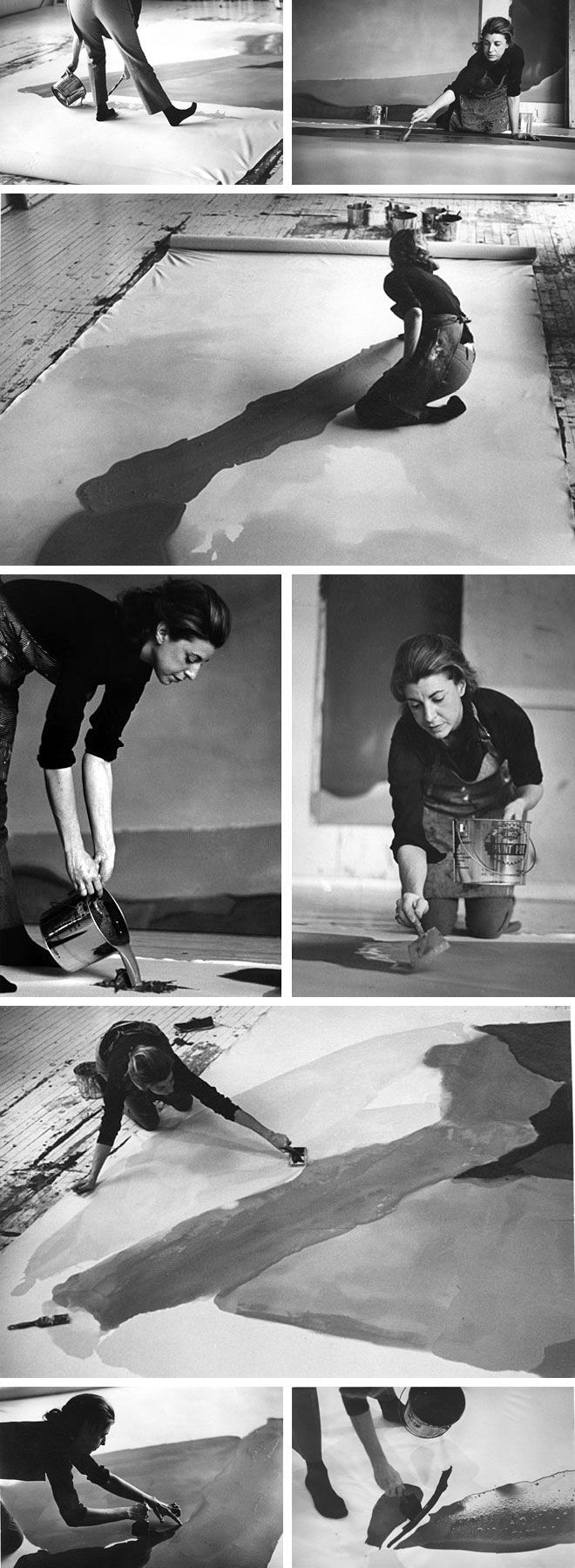 """Helen Frankenthaler photographed by Ernst Haas/ """"What concerns me when I work, is not whether the picture is a landscape, or whether it's pastoral, or whether somebody will see a sunset in it. What concerns me is – did I make a beautiful picture?"""""""