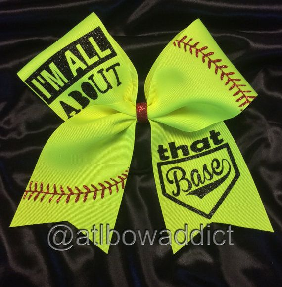 Softball Bow by AtlBowAddict on Etsy