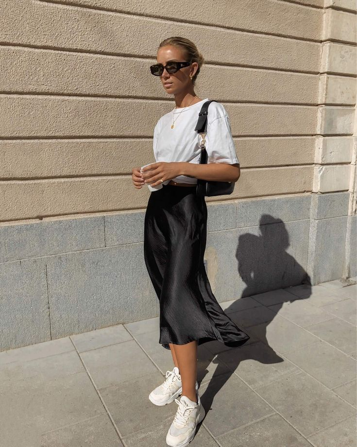 Basic Outfit T Shirt Satin Skirt Trainers Street Style Balenciaga ...