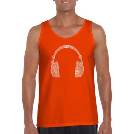 Los Angeles Pop Art Men's Tank Top - 63 Different Genres Of Music, Size: Medium, Orange