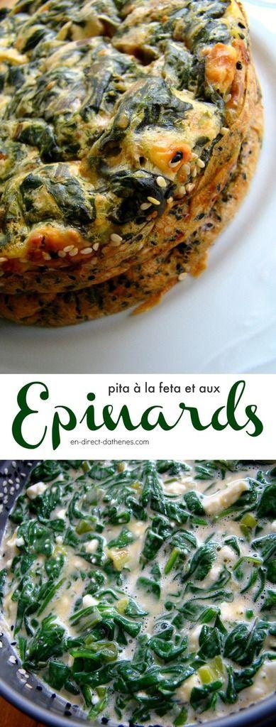 Une autre pita aux épinards et feta comme une quiche sans pâte, avec des graines de sésame et graines de nigelle