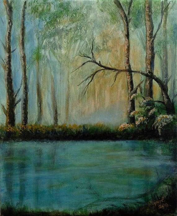 Original painting  blue forrest landscape acrylic on by Pilipart, $150.00