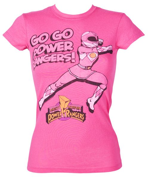 Mighty Fine Ladies Pink Power Rangers T-Shirt from Mighty Fine