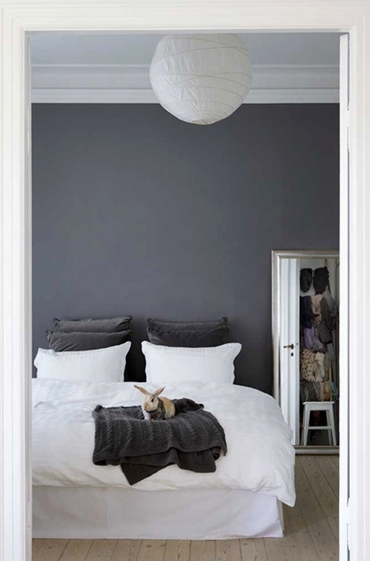 Dark grey wall paint b house pinterest grey white for Bedroom inspiration grey walls