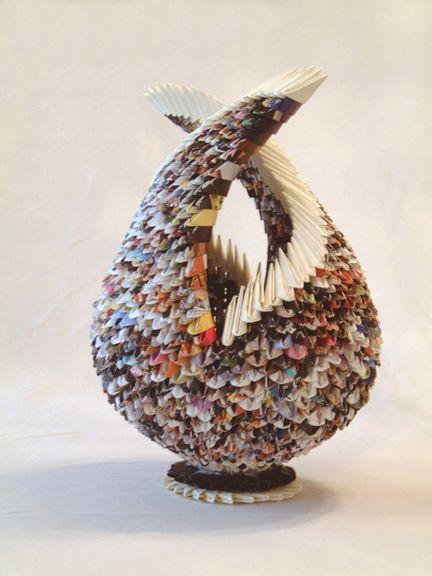 Nestling, paper sculpture by Francene Levinson