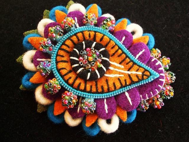 felt paisley brooch by woolly fabulous on Flickr