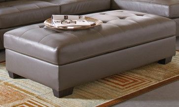 Joaquin Grey Leather Storage Ottoman - modern - Ottomans And Cubes - Modern Furniture Warehouse