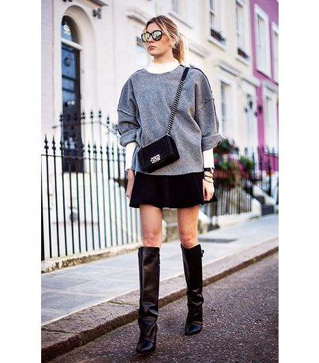 @Who What Wear - 10. Turtleneck + Oversized Sweatshirt  By the sound of it, this combination may seem like a recipe for dowdiness. Yet as Camille Charrière of Camille Over The Rainbow shows, when paired with a miniskirt and over-the-knee boots, the effect is cozy and chic.
