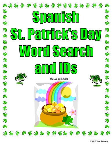 St. Patrick's Day Spanish Word Search Puzzle and Images