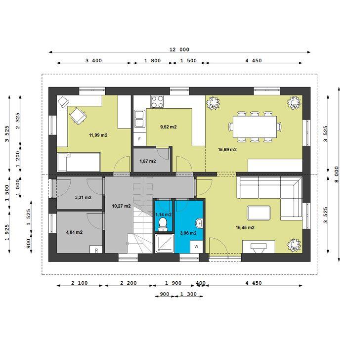 Typový dům  Capricorn - půdorys  1. nadzemního podlaží