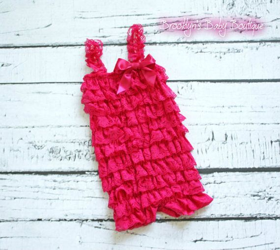 $14.99 Hot Pink Baby Lace Romper, Infant Ruffle Petti Romper, Newborn Shabby Chic Clothes, Baby Gift, Baby Easter and Baby Birthday Outfit