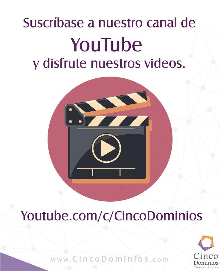 Suscríbase a nuestro canal de #Youtube y deisfrute nuestros videos sobre #ArquitecturaEmpresarial y #GobiernodeTI... http://youtube.com/c/cincodominios