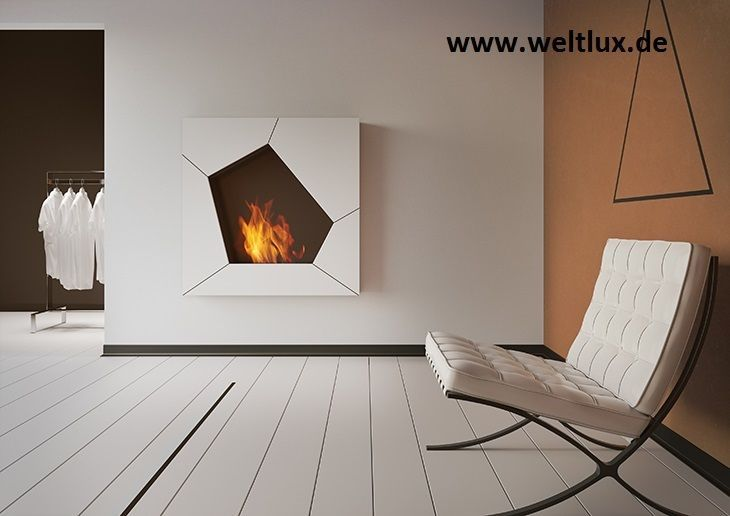 WANDKAMIN BIOKAMIN Farbe Weiss Ethanol-Kamin Bioethanol Gelkamin cheminée *Neu*