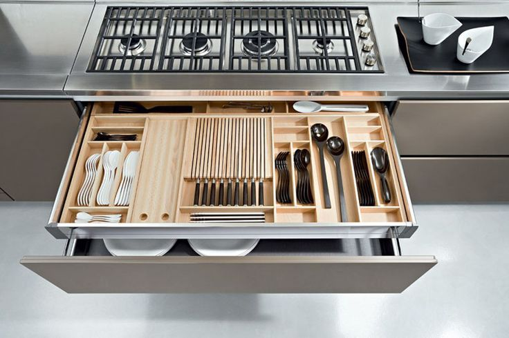 Kitchen Drawer Organization - Design Your Drawers So Everything Has A Place | The middle section of this custom drawer organizer features long slits to perfectly accommodate knives and prevent them from floating around freely.