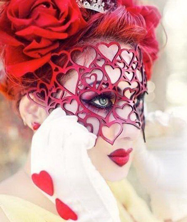 Leather Queen of Hearts Mask.
